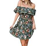 Ladies Off Shoulder Dress Short Elegent Print Dress