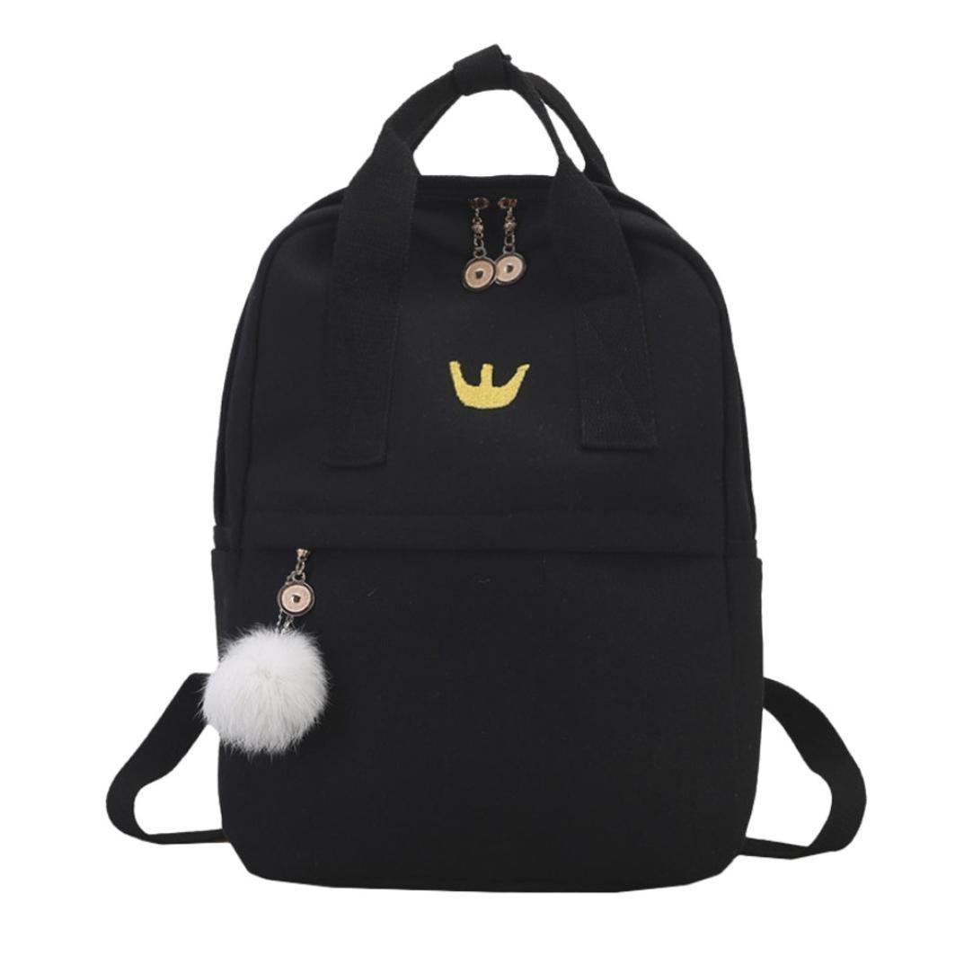 Wensy Clearance Girl Hairball Canvas School Bag Student Backpack Satchel Travel Shoulder Bag