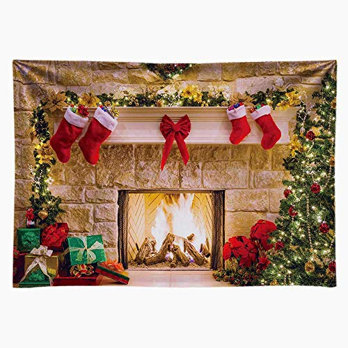 Funnytree 7x5ft Durable Christmas Fireplace Backdrop No Wrinkles Fabric Interior Vintage Xmas Tree Stockings Photography Background Portrait Photobooth Party Banner Decorations Photo Studio Props (Christmas Dog Backgrounds)