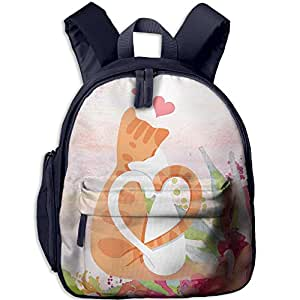 Vector Two Cats Snuggle Flat Design School Bag For Girls/Boys Backpack Kids Bag Childeren School Rucksack