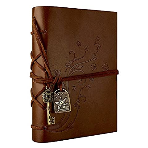Foonii Vintage Retro Leather Cover Notebook Magic Key String 160 Blank Jotter Diary Flower(Brown)