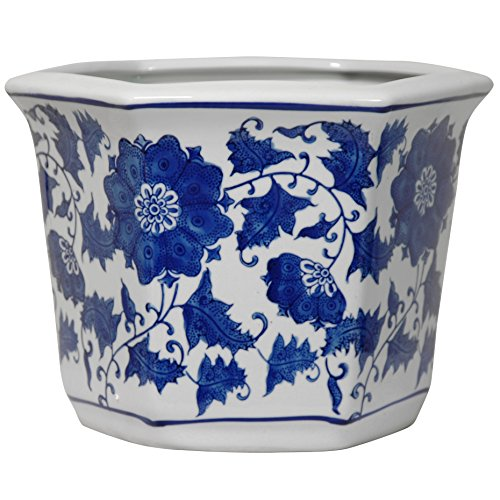 Oriental Furniture 10'' Floral Blue & White Porcelain Flower Pot by ORIENTAL FURNITURE