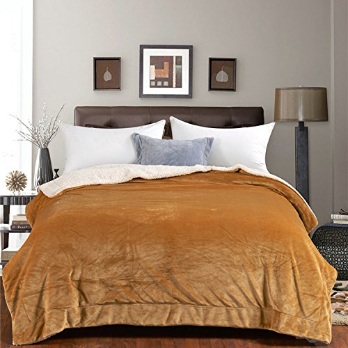 Large Double Flannel Blanket - CLOTHKNOW Double Fleece Flannel Blanket Golden Yellow, Blankets Queen Size - 79