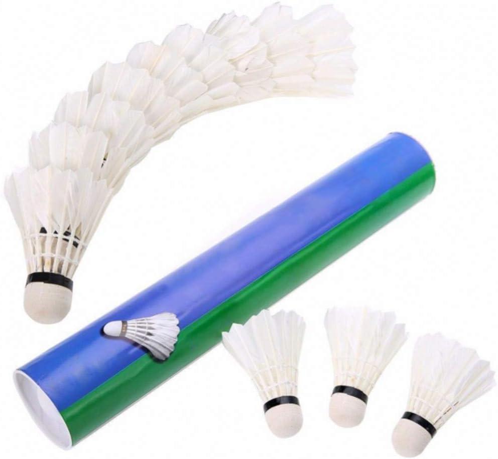 RZBZBRY 12 St/ück Wei/ß Badminton Federball G/änsefedern Birdies Fliegen Stabil Langlebig Battledore Badminton Shuttle H/ähne F/ür Das Training