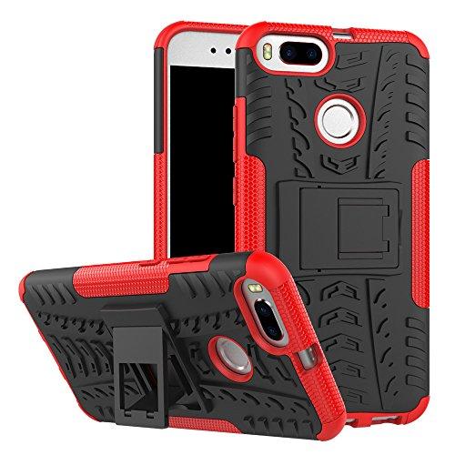 OFU®Para Xiaomi Mi A1 Smartphone, Híbrido caja de la armadura para el teléfono Xiaomi Mi A1 resistente a prueba de golpes contra la lucha de viaje accesorios esenciales del teléfono-rojo rojo