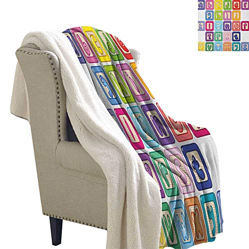 Educational car Blanket Colorful Lower Case Alphabet Blocks Cute Kids Font ABC Cartoon Style Typography Flannel Bed Blankets 60x78 Inch Multicolor