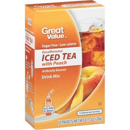 (Great Value: Decaffeinated Iced Tea with Peach Drink Mix, .71 Oz (Pack of 2))