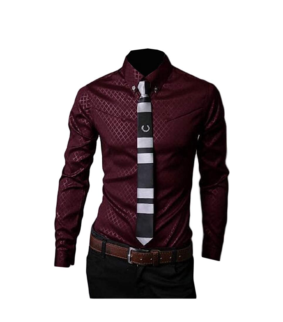 Wofupowga Men Print Slim Fit Contrast Color Button Up Long Sleeve Shirts