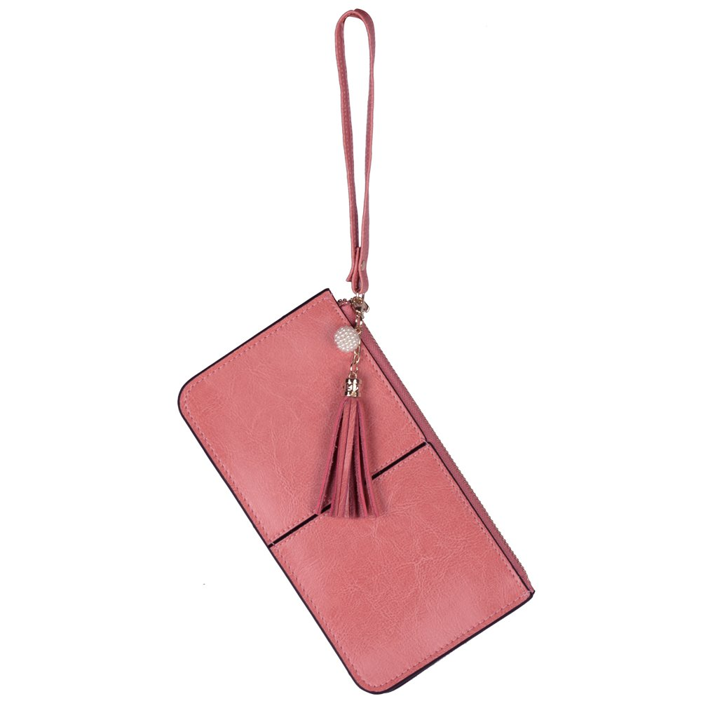 Lovena Soft Leather Wristlet Smartphone Zipper Wallet Tassel Wristlet (Light Carmine Pink)