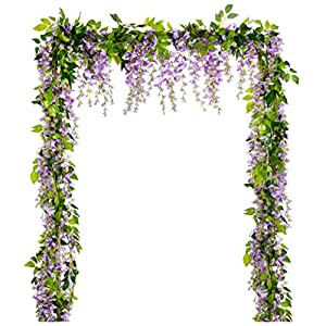 Artificial Flower Wisteria Garland, 12Pcs Artificial Wisteria Vine Silk Hanging Flower for Home Garden Outdoor Ceremony Wedding Arch Floral Decor,A 101
