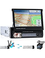 EKAT Single DIN Car Stereo 7'' Autoradio Multimedia Player with GPS Bluetooth USB FM Mirror Link for iOS/Android Phones,Backup Camera+Automatic Telescopic Touchscreen