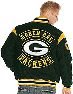 buy popular 98dde e587b Amazon.com : Green Bay Packers Jacket Leather Wool Packers ...