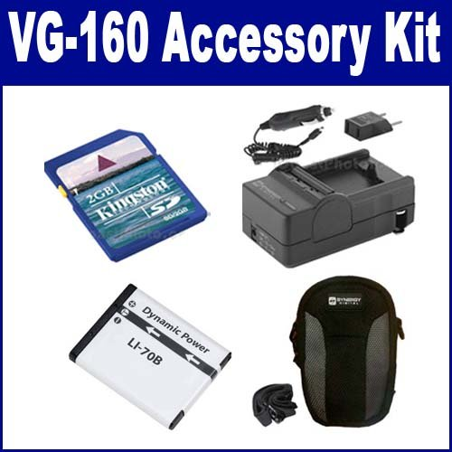 Olympus VG-160 Digital Camera Accessory Kit includes: SDLi70B Battery, SDM-1522 Charger, KSD2GB Memory Card, SDC-21 Case