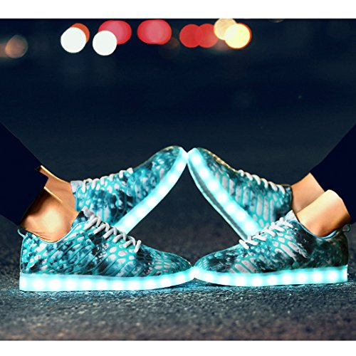 Women Halloween Valentine's Light Couple YIBLBOX Sport Up Christmas Moon Men 1 Shoes for Sneakers Rechargeable Day LED qxRx6Yw1FS