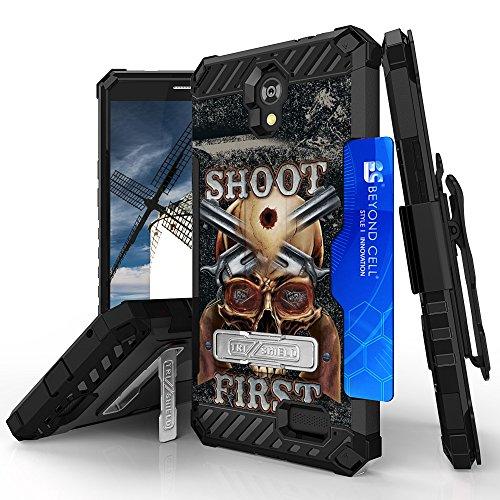 ZTE Sonata 3, ZTE Prestige, ZFive 2, Maven 2, Avid Plus, Avid Trio Case, Trishield Durable Phone Cover With Detachable Lanyard Loop Holster And Kickstand Card Slot - Shoot - First Trio Shield