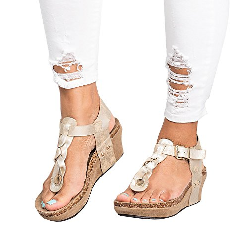 Syktkmx Womens Platform Wedge T Strap Thong Braided Ankle Strap Cork Mid Heel Sandals