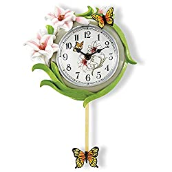 Collections Etc Butterfly and Lily Decorative Pendulum Spring Wall Clock