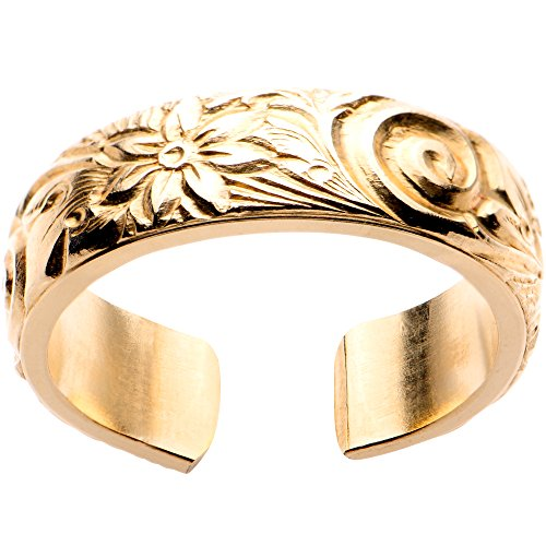 Floral Toe Ring (Body Candy Handcrafted 14k Yellow Gold Swirl Flower Toe Ring)