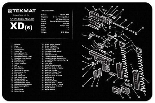 Ultimate Arms Gear Gunsmith & Armorer's Cleaning Work Tool Bench Gun Mat For Springfield Armory XDs XD S Pistol Handgun - Large Exploded View Schematics Diagram of Revolver and Parts List