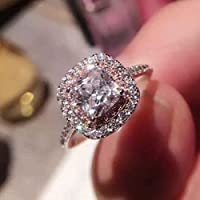 Na Na Nubngen Siam panva 3ct Square Womens Pink&White Wedding AAA CZ 925 Silver Engagement Ring Size 4-9 (8)