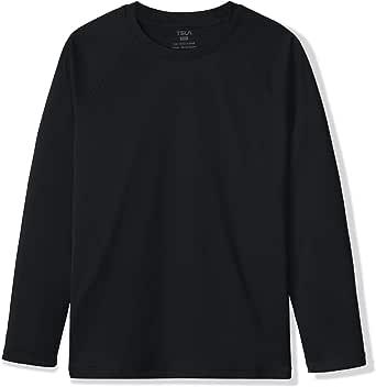 TSLA UPF 50+ Youth Kids Rash Guard Short/Long Sleeve, UV/SPF Surf Swim Shirt, Aqua Water Swimsuit Top