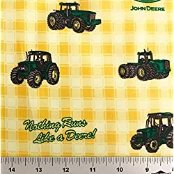"1/2 Yard - ""Nothing Runs LIke a Deere"" John Deere Tractor on Yellow Plaid Cotton Fabric - Officially Licensed (Great for Quilting, Sewing, Craft Projects, Throw Blankets & More) 1/2 Yard X 44"""