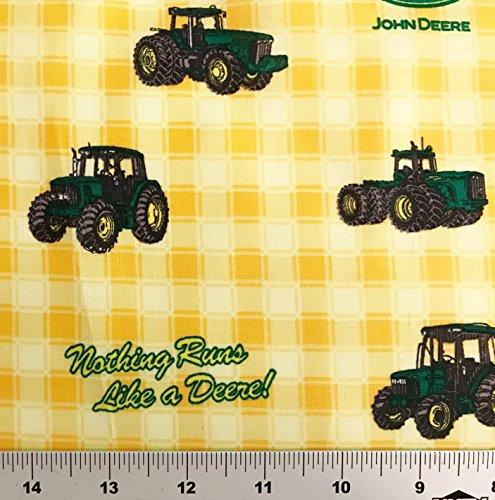 """1/2 Yard - """"Nothing Runs LIke a Deere"""" John Deere Tractor on Yellow Plaid Cotton Fabric - Officially Licensed (Great for Quilting, Sewing, Craft Projects, Throw Blankets & More) 1/2 Yard X 44"""""""