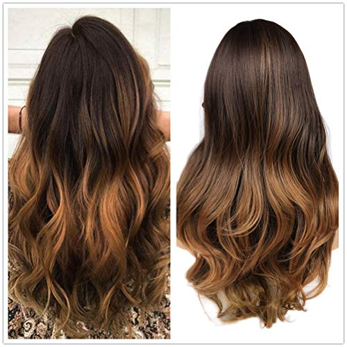 WIGER Synthetic Wigs With Bangs 3 Tones Ombre Wig Brown to Blonde Long Natrual Wavy Heat Resistant Wig High Density Hair Full Wigs for Women Girls 24 Inches