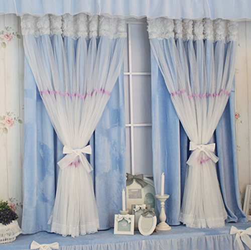 YOUSA Fairy Kids Blackout Grommet Window Curtain for Living Room Korean Window Treatment (2-Panel/52''W by 95''L/Blue)