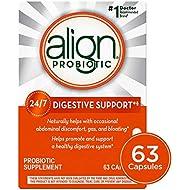 Align Probiotics Supplement for Digestive Health in Adult Men and Women, 63 Probiotic Capsules - Bifidobacterium 35624