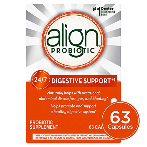 Align Probiotics Supplement for Digestive Health in Adult Men and Women, 63 Probiotic Capsules - Bifidobacterium 35624
