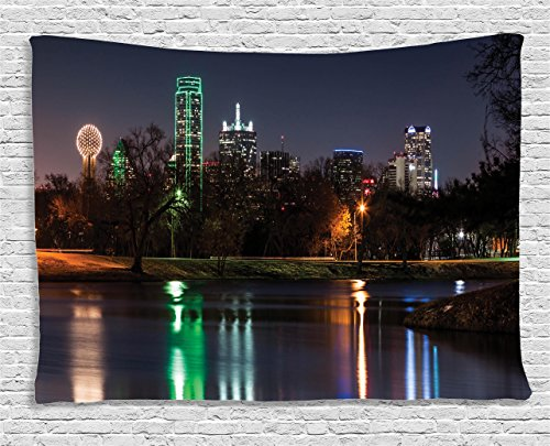 (Ambesonne Apartment Decor Collection, Dallas Skyline Reflected In A Lake City Park Trees Night Landscape Scene , Bedroom Living Room Dorm Wall Hanging Tapestry, 80W X 60L Inch )