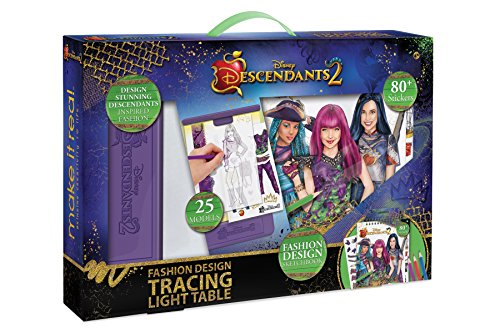 Make It Real - Disney Descendants 2 Fashion Design Tracing Light Table. Kids Fashion Design Kit Includes Light Table, Disney Sketchbook, Stencils, Stickers, Design Guide and -