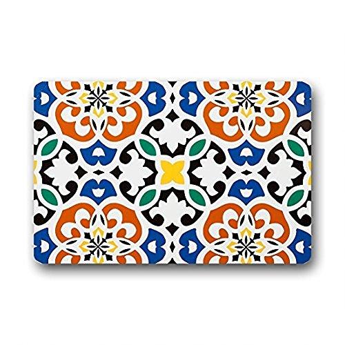 (best bags Design Moroccan Clover Medallion Orange Blue Black Home Fashions Non Slip Coco Door Mat Indoor/Outdoors (L23.6