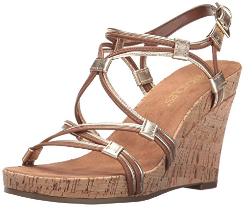 Aerosoles Women's Real Plush Wedge Sandal, Dark Tan Combo, 11 M US
