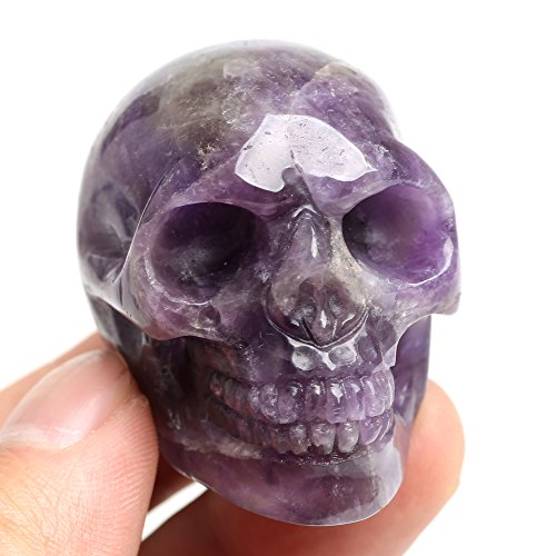 Ruhong 5cm Natural Reki Quartz Healing Crystal Stone Figurine Craft Skull Sculpture Head Statue (Amethyst)