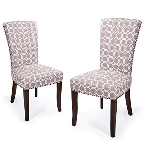 Adeco Floral Living Dining Chair with Birch Legs, Set of Two, Light Brown Color