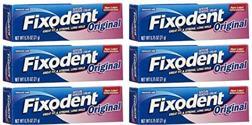 - Fixodent Denture Original Strong Adhesive Cream 0.75 Oz Travel Size (Pack of 6)