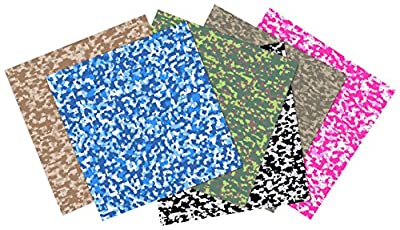 Craftopia's Premium Assorted Camouflage Self Adhesive Vinyl Sheets (6+1 PACK) - BEST Vinyl for Cricut, Silhouette Cameo, Craft Cutters, Printers, Letters, Decals from Craftopia