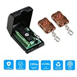 OWSOO 433mhz RF Remote Control Smart Switch DC 12V Wireless Remote Control Switch Relay Receiver Transmitter Universal Remote Switch System and Long Range 100M RF Transmitter Remote Controls 1527