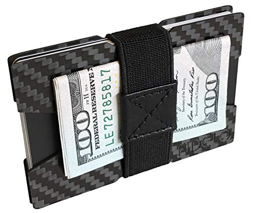 FIDELO Carbon Fiber Minimalist Wallet - Slim Credit Card Holder Money Clip Wallets for Men - Designed for Front Pocket EDC & Travel - Light Weight & Compact Size: 3.4