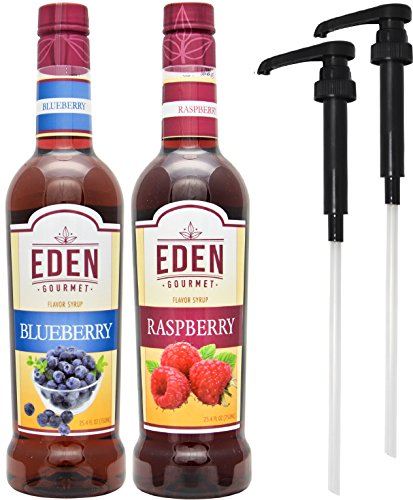Eden Gourmet – Blueberry & Raspberry Flavor Syrups 750ml bottles – Set of 2 – Pumps included
