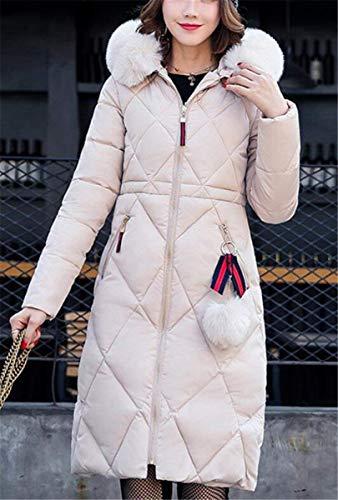 Especial Piumini Moda Donna Cerniera Di Cappotti Laterali Estilo Cerniera Solidi Invernali Con Manica Colori Tasche Lunga Colore Outwear Kahki Con Puro Lunga HwarwdBSq