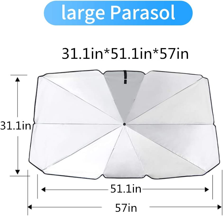 Car Windshield Parasol Sun Shade for Nissan NV200 Sun UV Protection Lightweight and Portable Umbrella Type 125cm*65cm