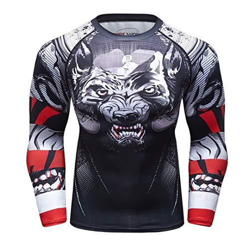 FESFJSES Compression Rashguard T Shirt Men Exercise Evil Wolf 3D Print Work Out Fitness Tights Photo Color23 XXL 180-190 -