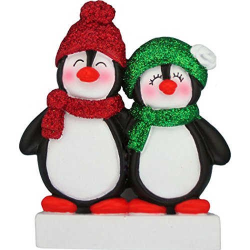 Personalized Penguin Family of 2 Christmas Tree Ornament 2019 - Happy Cute Couple Siblings Friends Glitter Playful Hat Snow Romantic 1st Traditional Winter - Free Customization (Two) ()