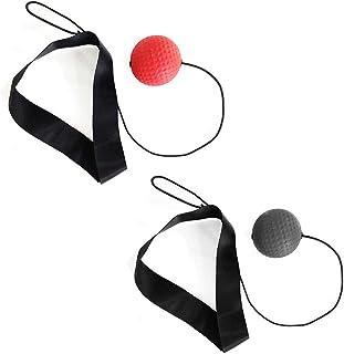 Warooma Balle de Boxe Reflex à 2 Niveaux avec Bandeau réglable, améliore la Coordination œil-Main et la Vitesse d'agilité (Rouge + Noir)