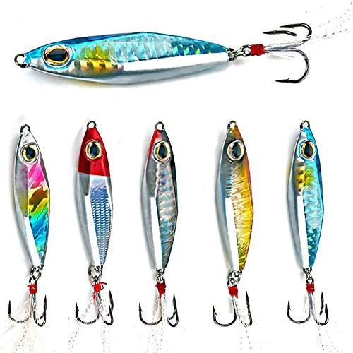 (Sougayilang Jigs Fishing Lures Sinking Metal Spoons Micro Jigging Bait with Treble Hook for Saltwater Freshwater Fishing-A-2.56in/1.16oz-5PCS with Box)