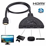 Pigtail 3 to 1 HDMI Switch, EPOLLO HD 1080P 3FT Cable HDMI Switcher High Speed Auto Switch Selector Support  HDMI 2.0, HD 3D, Audio, for Xbox One S, Xbox 360, PS3 console, ps4 games, DVB Receivers