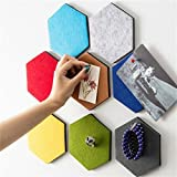 lulalula Hexagon Felt Board Tiles, Set of 9 Notice Memo Bulletin Boards with Push Pins Pack Multi Colors Memo Sticker for Wall Decoration - 14 cm x 12 cm